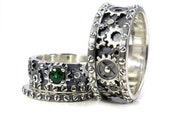 Sterling Silver Gear and Rivet His and Hers Wedding Ring Set - Stacking Ladies Rings with Green Tsavorite Garnet