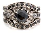 Victorian Gothic Black Diamond Stacking Engagement Ring Set - Black and White Diamond Wedding Rings