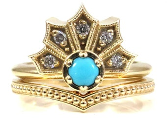 Modern Turquoise and Diamond Gothic Crown Engagement Ring Set with Millgrain Chevron Band