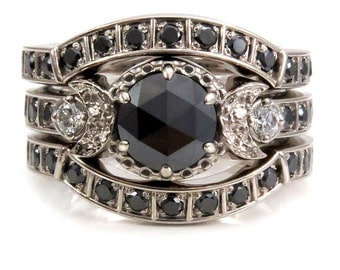 Victorian Gothic Black Diamond Stacking Engagement Ring Set - Black and White Diamond Wedding Rings