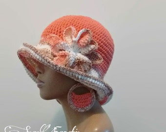 MADE TO ORDER Terracotta/ Tangerine Birch Brown White Multicolor Cloche/Sun Hat/ Fedora w free earrings /detachable flower clip/ 100% Cotton