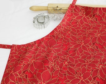 Red and Gold Poinsettias Adult Apron
