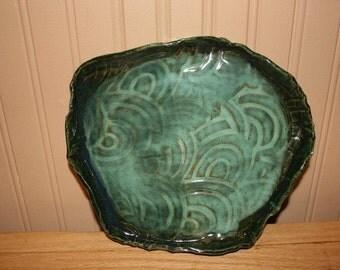 Large green swirl pottery tray, handmade pottery tray, serving tray