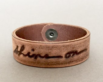 "SPRING SALE!! / 20% OFF!! / ""Shine On"" Distressed Brown Leather Monogram Bracelet by Jessica Galindo"