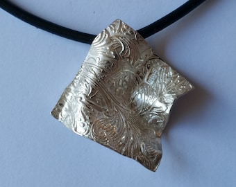 Unique Damask Pendant Handmade Sterling Silver on a Neoprene Cord
