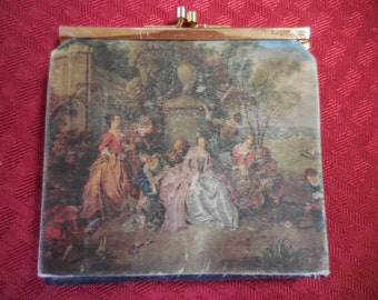 Vintage 1950s to 1970s Victorian Scene Satin Wallet Black Ladies/Womens Made in Italy 18th Century Italian Silk Fabric Kiss Lock