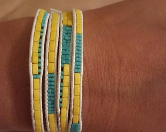 4 Wrap Bracelet Yellow and Turquoise Beads with a Silver Fish and Sand Dollar