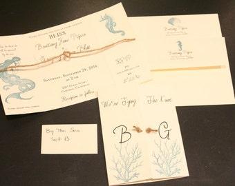 Tying The Knot, Wedding Invitation, BY THE SEA, Christian, Tri-Fold, Aqua/Teal, Twine, Destination Wedding, Rustic, Scripture, Unique