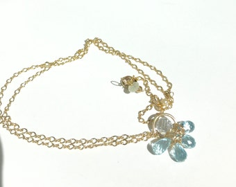Blue Zircon, White topaz Gold Necklace, Bridal, wedding,  jewelry, Lilyb444, Gifts for her, Blue Flower, Nature Inspired,