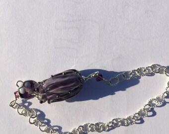 Purple lampwork, flower, polka dot , silver bracelet, Lightweight, Lilyb444