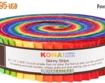 ON SALE Robert Kaufman Kona Cotton Solids Skinny Strips Classic Palette of Brights