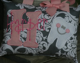 Girls Tooth Fairy Pillow - Personalized - Tooth Chart - Gray and pink - Damask