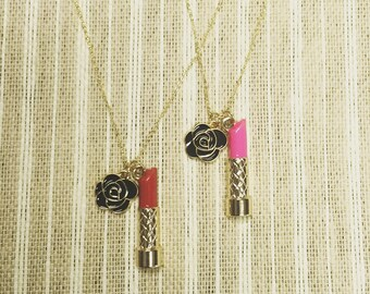 Girly Glam Lipstick & Rose Necklace - Gold Plated - Enamel - Bachelorette - Charms - Makeup Artist Cosmetologist