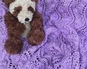 Soft Lavender Knit Baby Blanket / Afghan