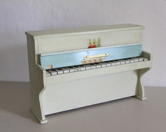 French Vintage Shabby Chic Toy Piano in Wood, White Paint