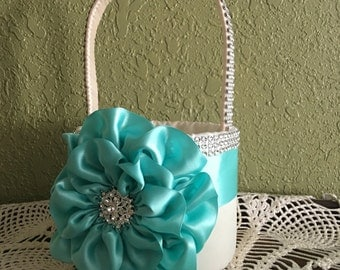 Ivory Flower Girl Basket with a Aqua Satin Flower and Rhinestone Mesh handle and Trim, Custom Made to Order