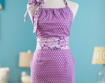 Halter Apron - Purple Polka Dots