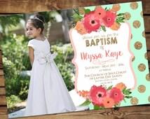 lds baptism invitation, girl modern baptism invitation, printable  - modern baptism announcement Mint and Coral Floral - Digital Download