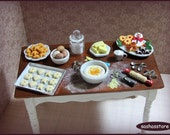 Christmas baking table, miniature baking scenery for christmas 12th scale