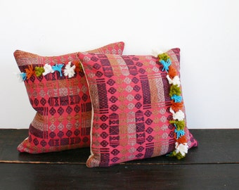 Modern Muliti Fringe Textural Dyed Ethnic Throw Pillow- Horizontal Tassels