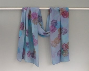 Silk Scarf, Hand Dyed Blue, Hand Printed with Multi Color Floral Design