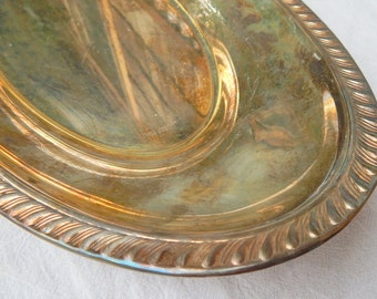 Vintage Silver Plated Tray, Silver Cottage Chic Bowl