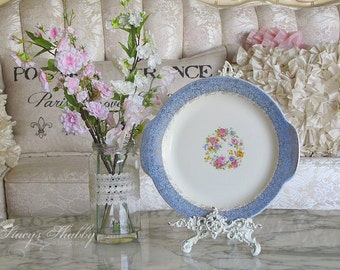 Charming Vintage Cottage PINK ROSES China PLATTER, Farmhouse, Spring, Shabby Chic