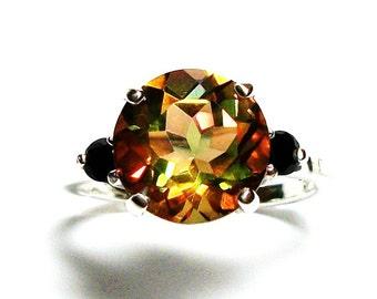"""Topaz ring, orange topaz ring, 3 stone ring, orange green pink, anniversary ring,  s 6 3/4   """"Black eyed Susan"""""""