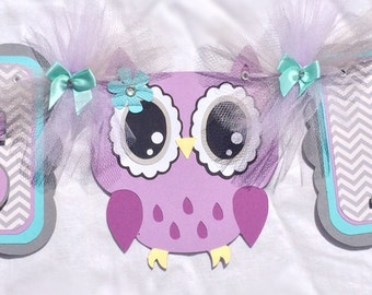 Owl baby shower banner, girl owl banner, owl decorations, it's a girl banner, party decorations, owl party banner, lavender and teal,