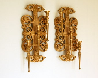 Wall Candle Holders, Wall Candle Sconces, Syroco Wall Decor, Hollywood Regency