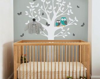 Owls Tree and Butterflies - Nursery Wall Decal Sticker