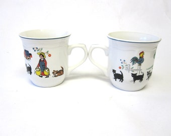 Coffee Cup Mug Farm Scene Oneida Farm Friends Set Of Two