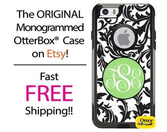 Custom iPhone OtterBox Commuter Case for iPhone 7, 7 Plus, 6/6s, 6 Plus/6s Plus, 5/5s/SE, 5c Galaxy S7 S6 S5 Note 5 Monogrammed Swirl Case