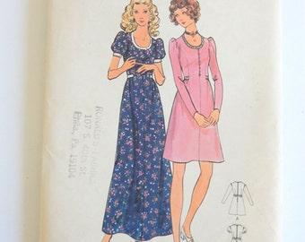 1970s Butterick 6615 Scoop Neckline Edwardian Inspired Dress Pattern 34 Bust; 25.5 Waist Vintage Vintage Sz 12
