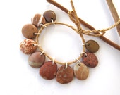 Reserved for Sue : Natural Stone Charms Top Drilled Mediterranean Diy Jewelry Rock Beads Stone Pairs Brown Copper PEACH MIX 16-20 mm