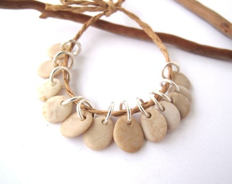Beach Stone Charms Top Drilled Rock Beads Mediterranean River Stone Beads Diy Jewelry Natural Stone Pairs SMALL IVORY MIX 9-11 mm