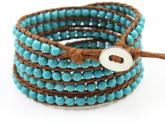 wrap bracelet natural turquoise bead wax rope wrap handmade bracelet teens bracelet women wrap bracelet