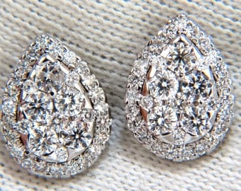 1.40ct natural diamonds pear cluster earrings 14kt