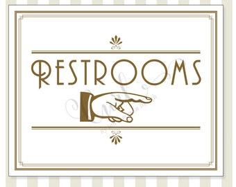 Printable Art Deco Restroom Signage, Reception Signage, Party Sign, 8x10 Gold Wedding Sign