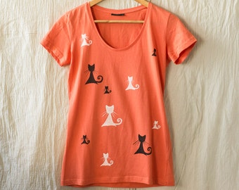 Orange T-Shirt with Cats in Black and White, Size M Hand Painted T-shirt, Gift For Cat Lovers