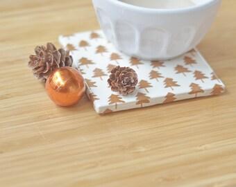 Christmas Coasters Copper Trees Modern Ceramic Tile Coasters Winter Hostess Gift Simple Festive Fir Tree Coasters