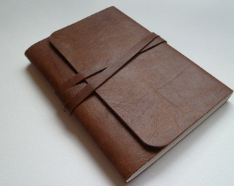 Leather Sketchbook Travel Journal Leather Journal. A Soft Two Toned Teak Brown Grained Leather with a Distressed Antique Finish.