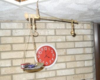 ANTIQUE BRASS STILLARD 2 hook balance scale with counter weight