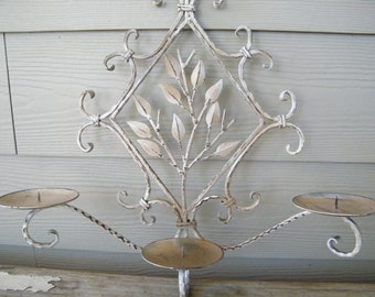 Candle Holder Wall Sconce, Two tone Tan and Ivory Shabby Metal Pillar Candelabra, Leaves, 3 Arm, Rustic, One of a Kind Refinished