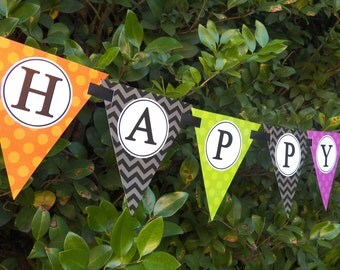 Halloween Birthday Printable Bunting Banner - Ghosts and Ghouls Collection