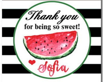 Personalized Watermelon Tags, Treat Tags, Favor Tags Printable or Printed with FREE SHIPPING ANY Wording - Watercolor Watermelon Collection