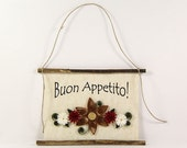 Buon Appetito, Paper Quilled Italian Kitchen Sign, 3D Paper Quilled Banner, Brown Red White Decor, Italy Gift, Have a Good Meal Kitchen Art