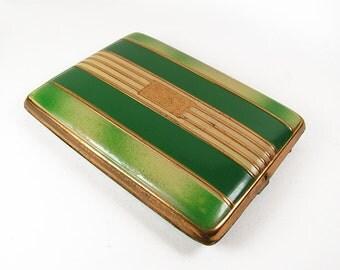 Vintage Cigarette Case, Green - Le Cas de Cigarettes.