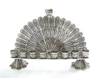 Hanukkah Menorah 925 Sterling Silver Filigree Hanukkah Menorah, Collectors Item, Artisan Judaica, Free Express Shipping ID908