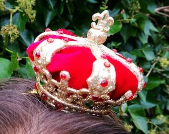 Miniature crown fascinator with velvet insert and bespoke gems